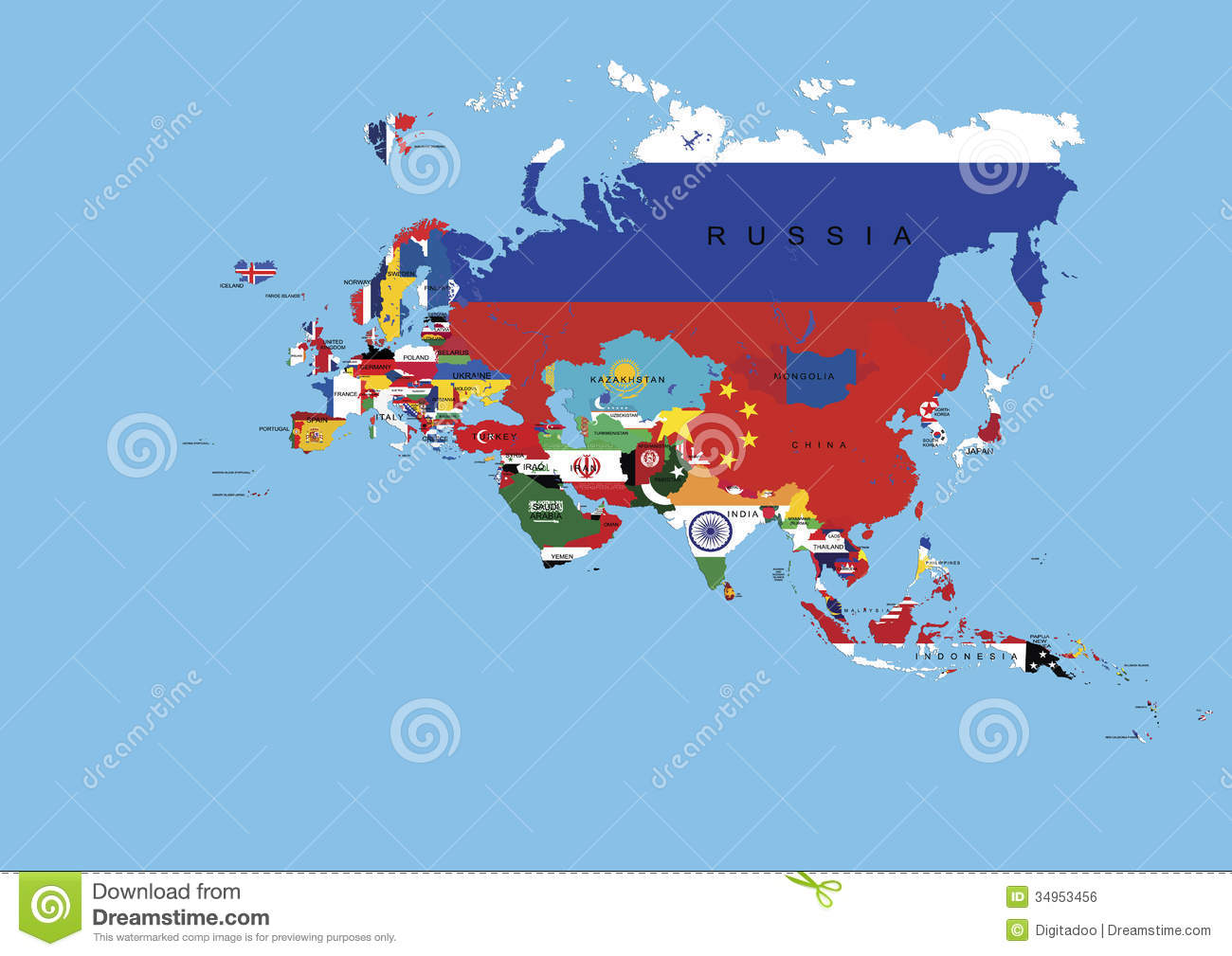 Royalty Free Stock Image  Europe Asia Flags Background Map And State