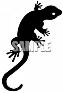 Silhouette Of A Gecko Lizard   Royalty Free Clipart Picture