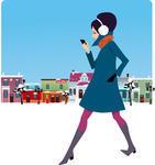 Smart Phonesnowstreetstridestyletownvectorvintagewalkwinter