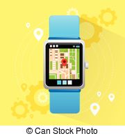 Smart Watch Application City Map Navigation Stock Illustration