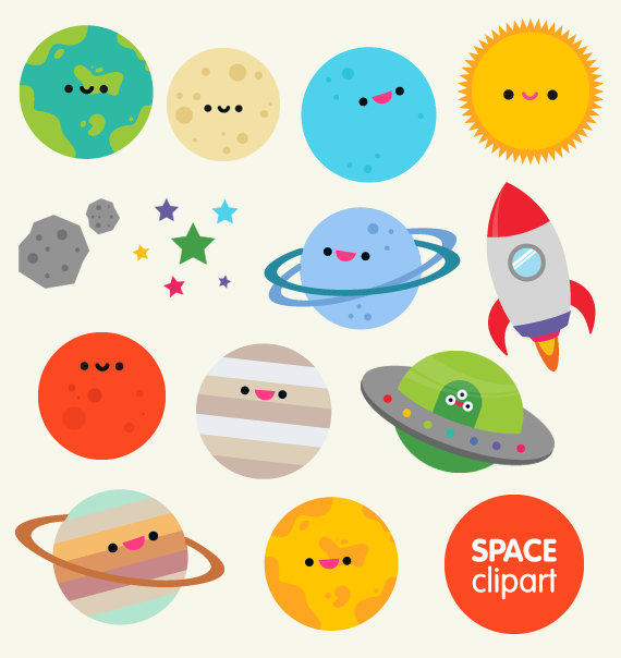 Space Clipart Commercial Use Digital Planet Graphics  Cartoon Kawaii