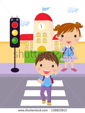 Two Children Use A Cross Walk To Cross The Street    Stock Vector