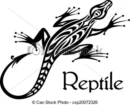 Vector   Black Lizard Silhouette   Stock Illustration Royalty Free
