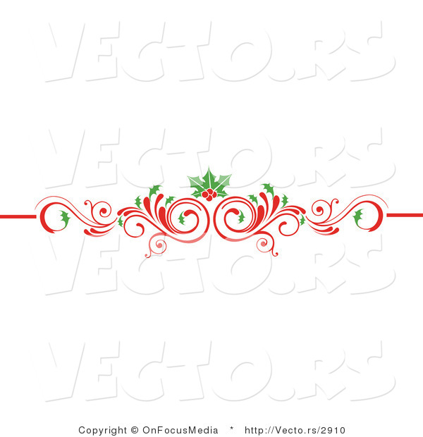 Vector Of Christmas Scrolled Red Flourish Vine With Holly Leaves And