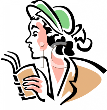 Vintage Woman Reading A Book   Royalty Free Clipart Picture