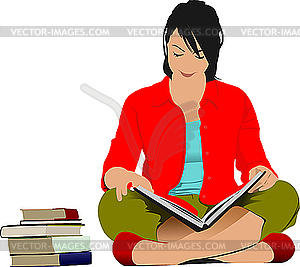 Woman Reading Book   Vector Clipart