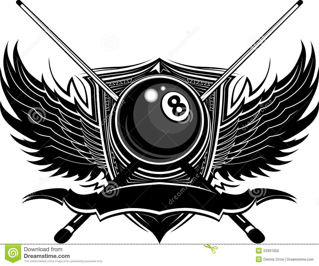 Billiards Eight Ball With Ornate Wings Stock Photo   Image  23391050