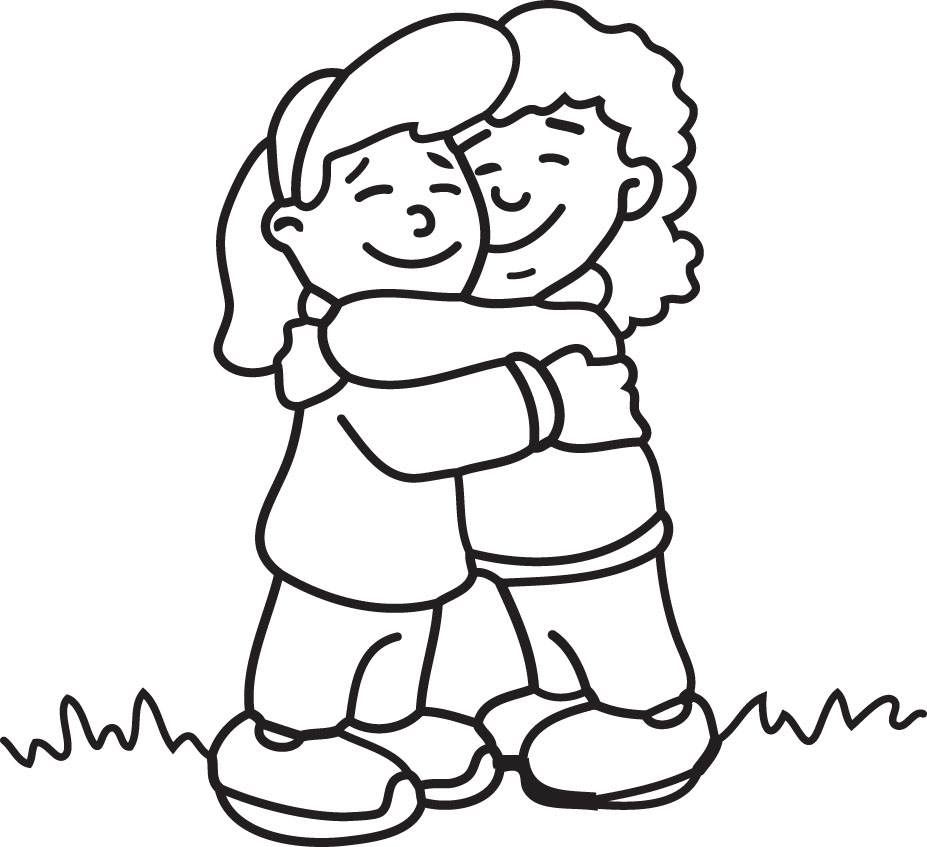 Hugs Black And White Clipart - Clipart Kid