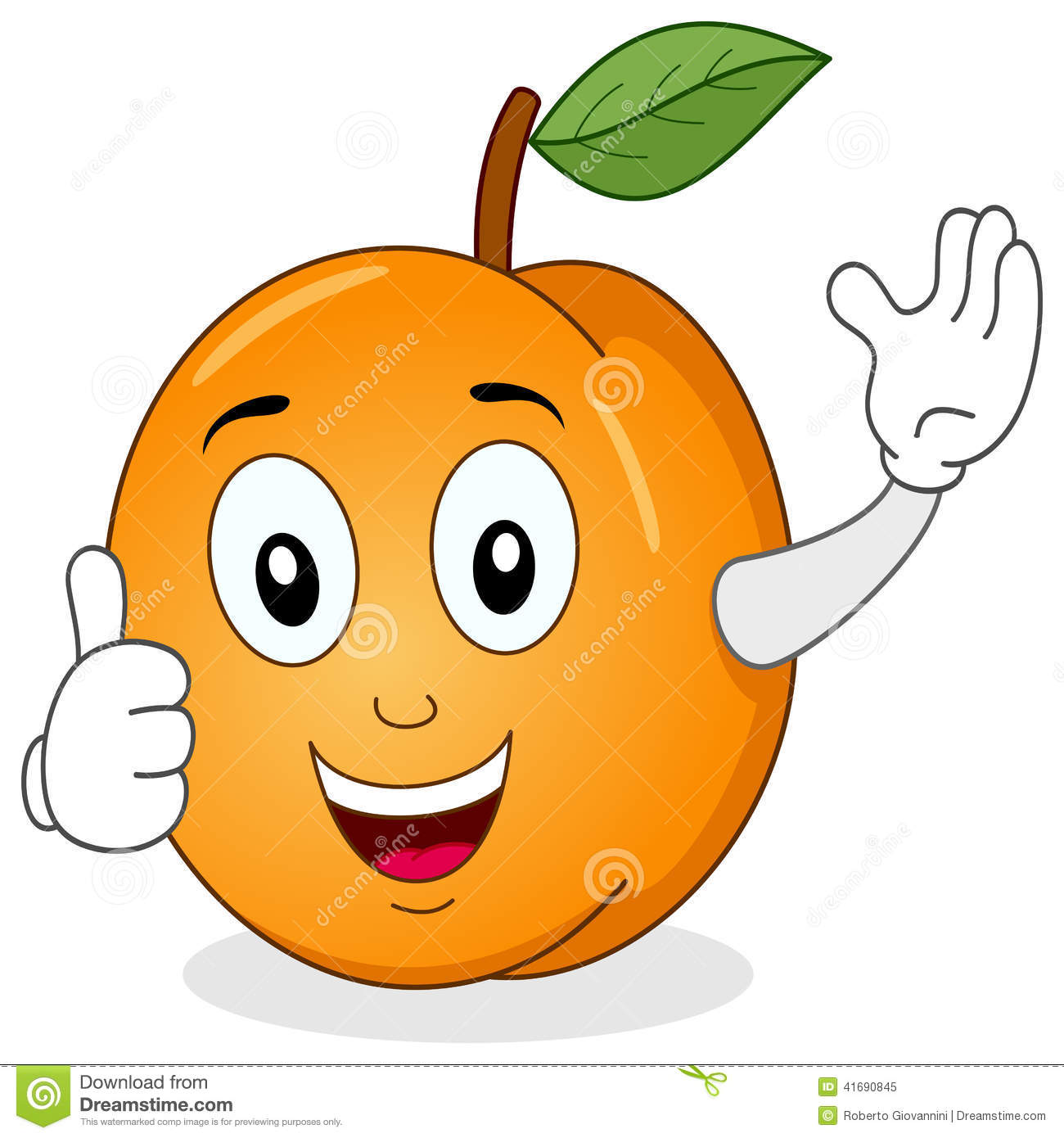 Funny Cartoon Apricot Character Smiling With Thumbs Up Isolated On