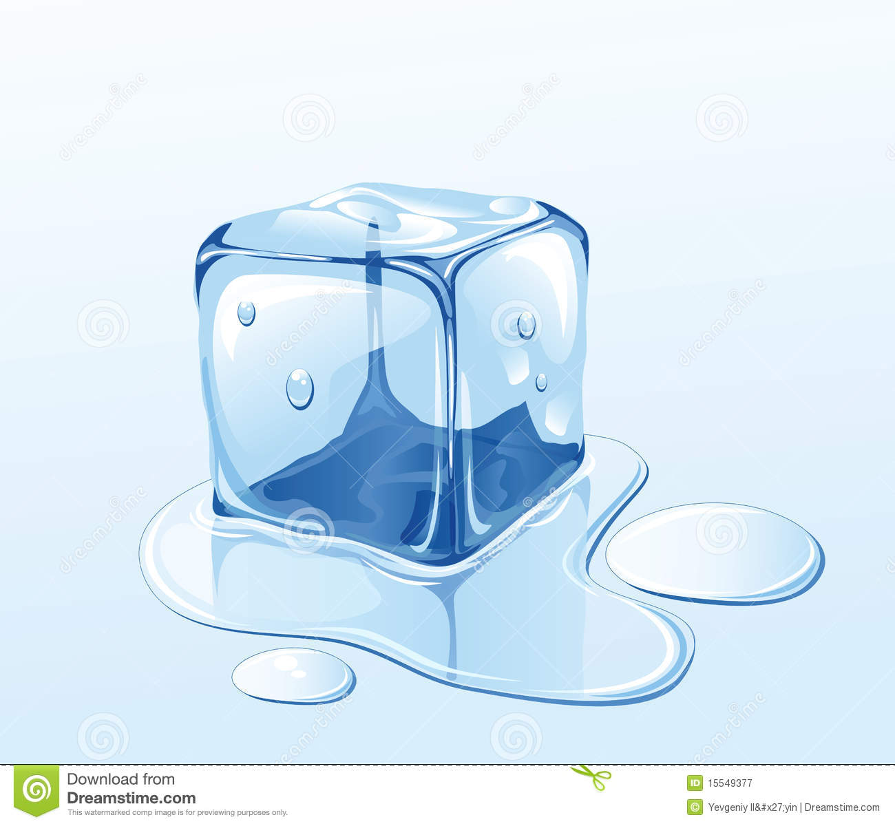 Ice Cube And Water Royalty Free Stock Photography   Image  15549377
