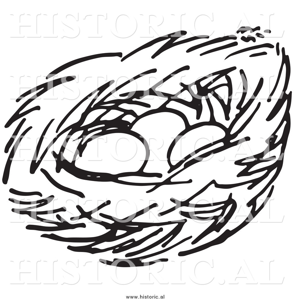 Nest Clip Art Clipart Of A Bird Nest With Three Eggs Black And White