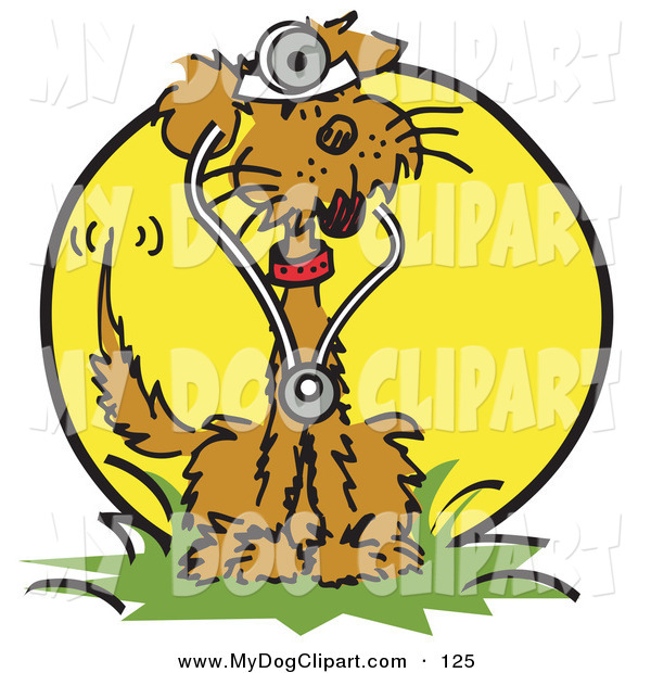 Of A Brown Pet Dog Sitting In Grass And Wearing Stethoscope Clipart