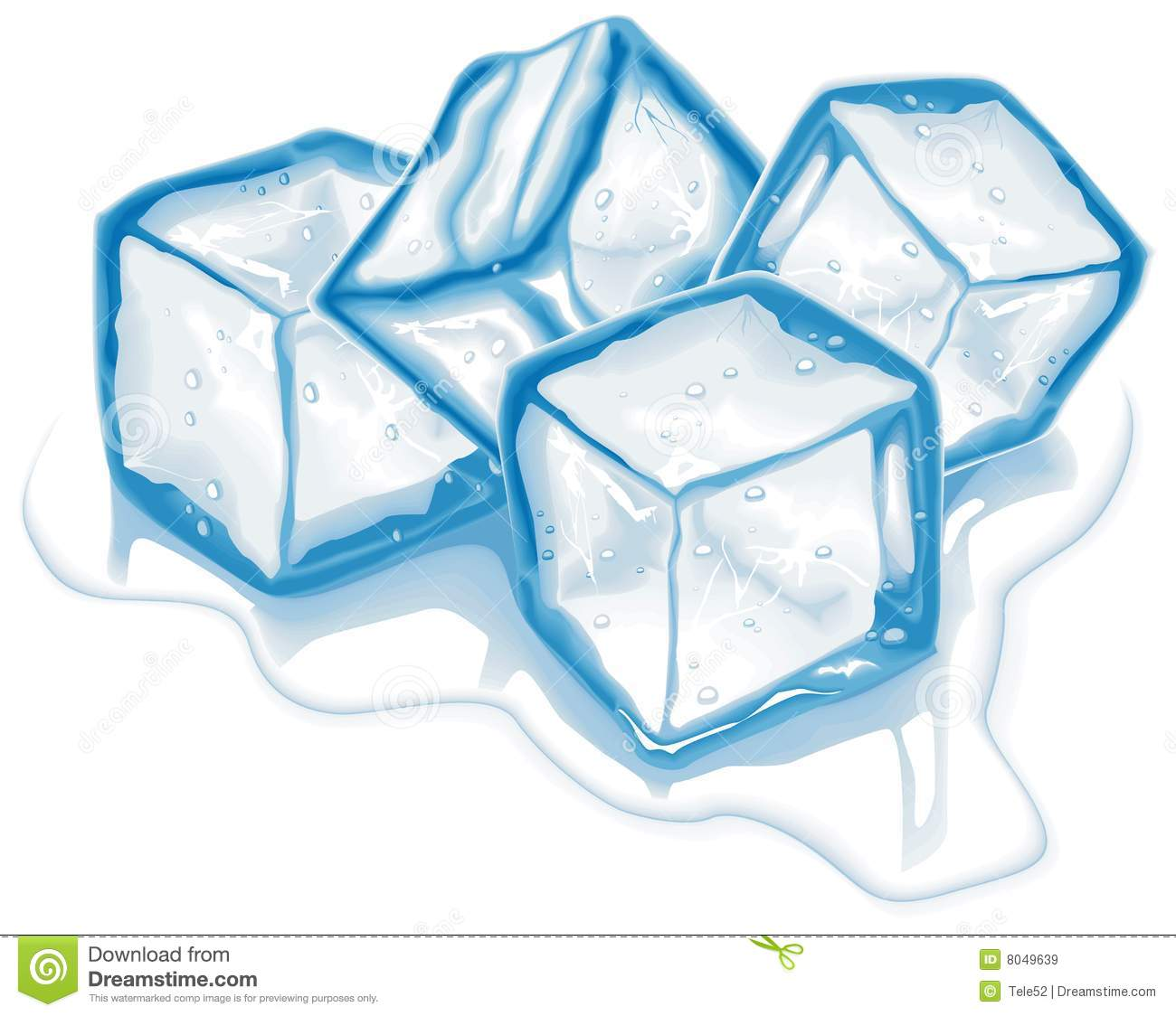 Royalty Free Stock Images  Four Vector Ice Cubes