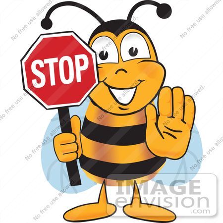 Stop Clipart 22903 Clip Art Graphic Of A Honey Bee Cartoon Character