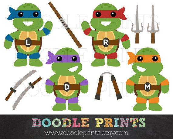 Teenage Mutant Ninja Turtles Clipart Design   Ninja Weapons   Personal