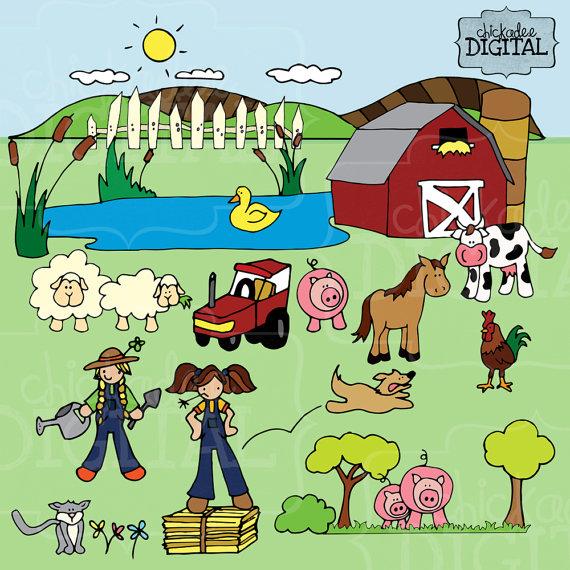 To Farm Clipart Farmer Cow Horse Pigs And Sheep Clip Art Farm