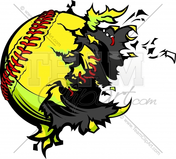 Exploding Fastpitch Softball Clipart Image Of A Baseball