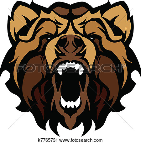 Grizzly Bear Mascot Head Vector Gra View Large Clip Art Graphic