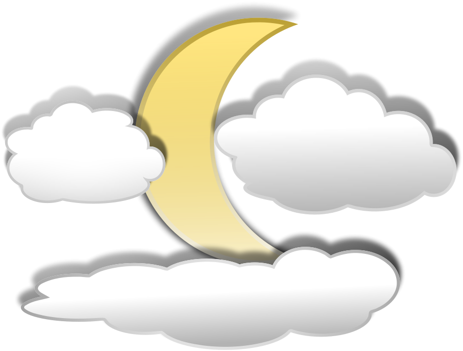 Quarter Moon Clipart Full Moon With Clouds Clipart