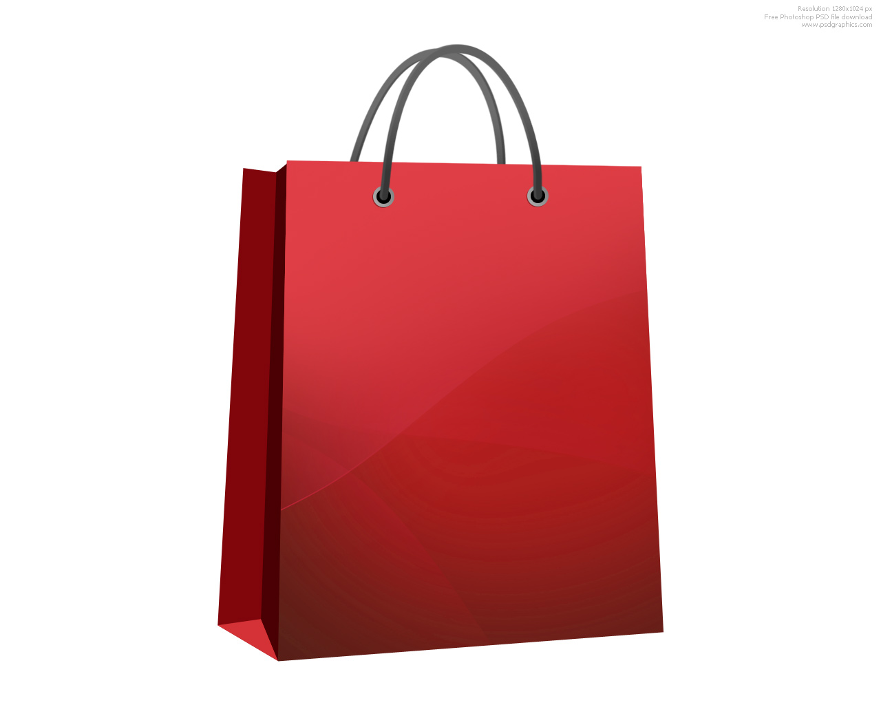 RoyaltyFree RF Black Shopping Bag Clipart