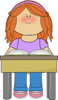 Student Reading School Book Clip Art Image   Girl Student Reading A