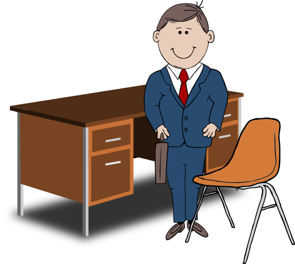 Teacher   Manager Between Chair And Desk Clip Art At Clker Com
