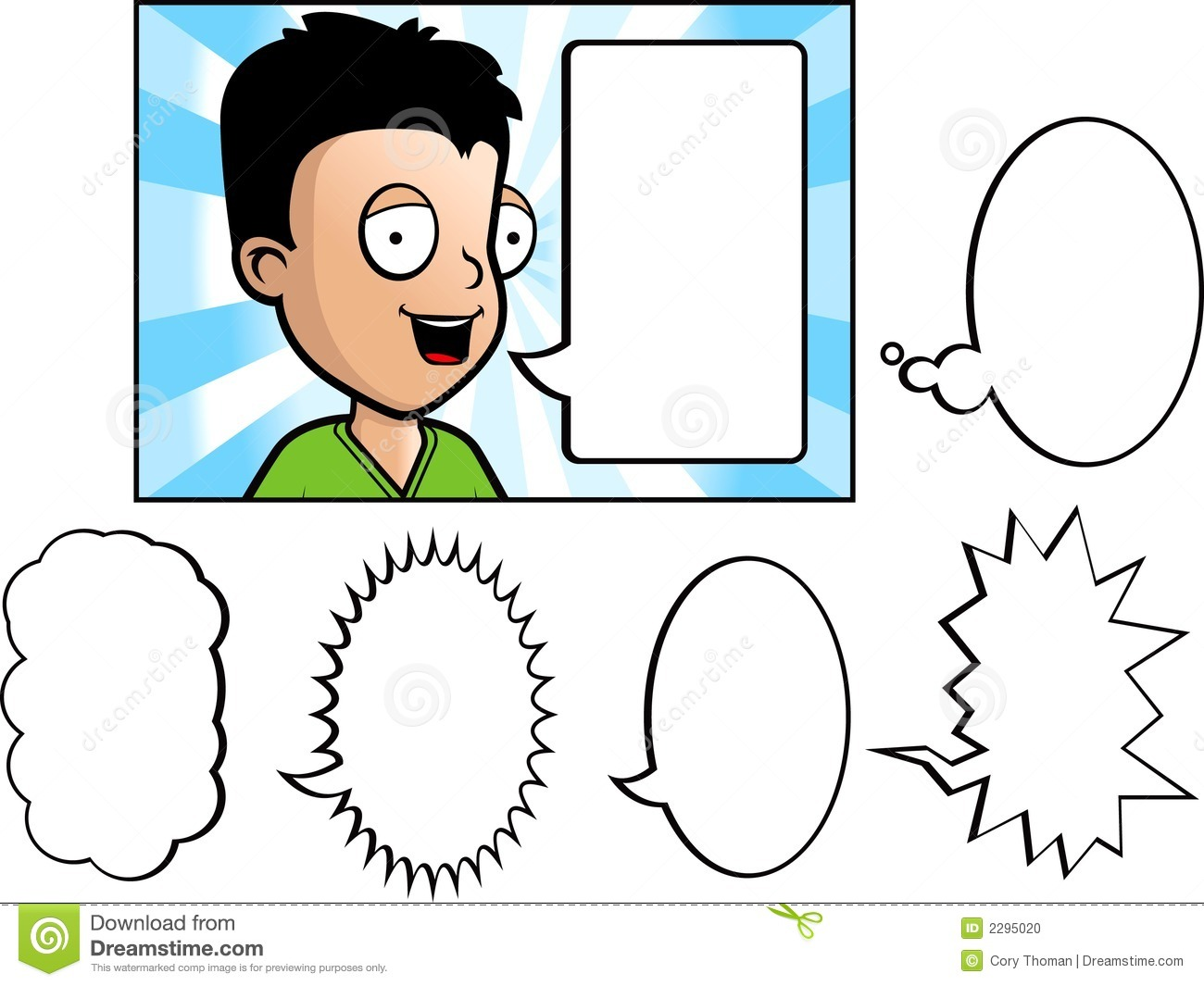 Young Boy Speaking  Includes A Variety Of Word Bubbles