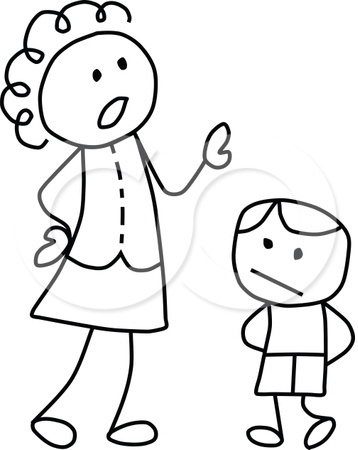 1106485 Clipart Black And White Stick Drawing Of A Mother Scolding Her