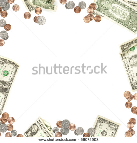 Dollar Bill Penny Nickel Quarter And Dime Currency Border Isolated