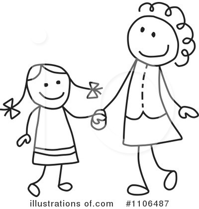 Black And White Mother Clipart - Clipart Kid