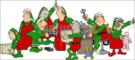 Christmas Cartoon Santa's Workshop Clipart - Clipart Suggest