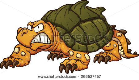 Angry Snapping Turtle  Vector Clip Art Illustration With Simple