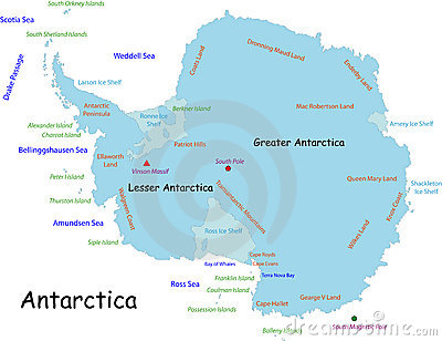 Antarctica Map Designed In Illustration With The Names Place