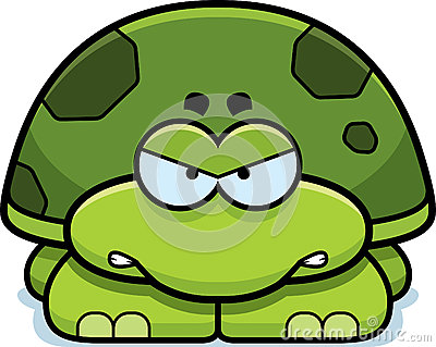 Cartoon Illustration Of A Little Turtle With An Angry Expression