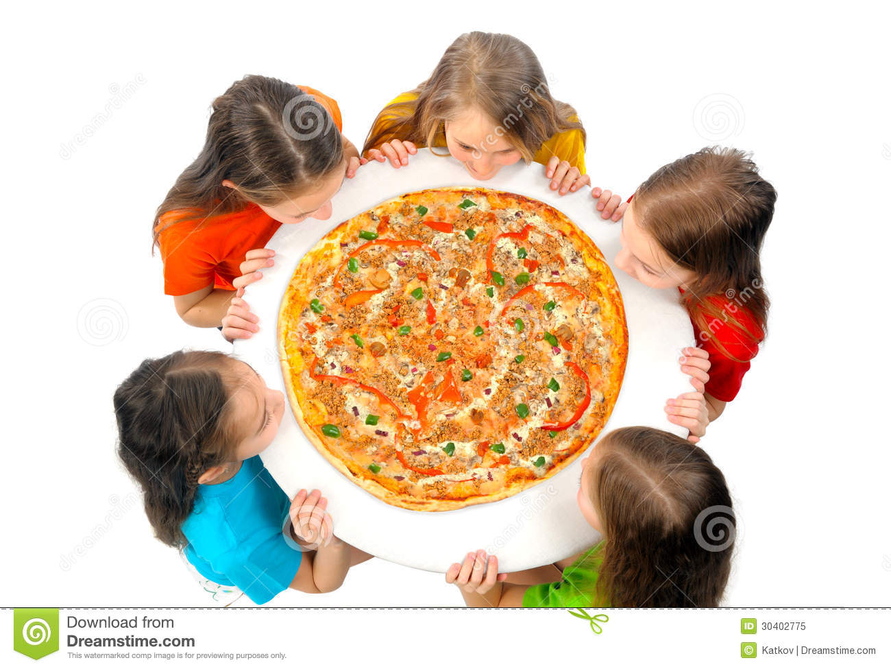 Children Eating Huge Pizza Royalty Free Stock Photo   Image  30402775