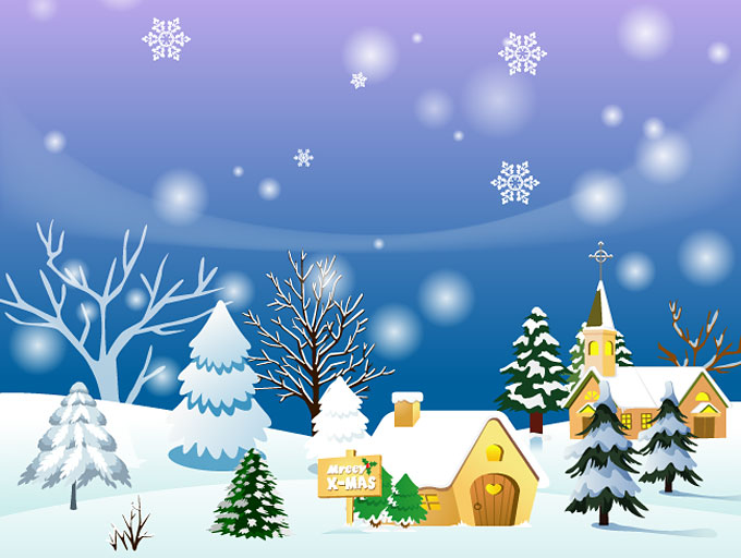 Christmas Town Background Or Winter Landscape Vector  Free    Free