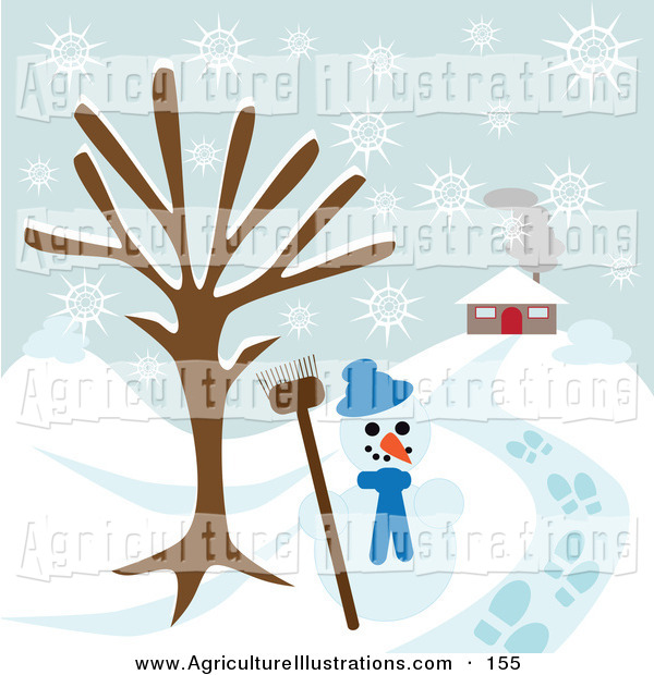 Clipart Of A Happy Snowman Under A Bare Tree Near A Home On A Snowy