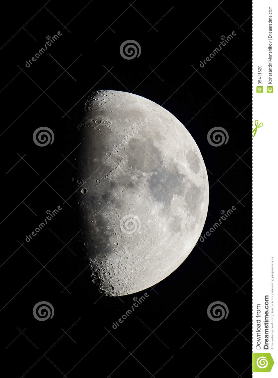 First Quarter Moon Stock Photo   Image  35411620
