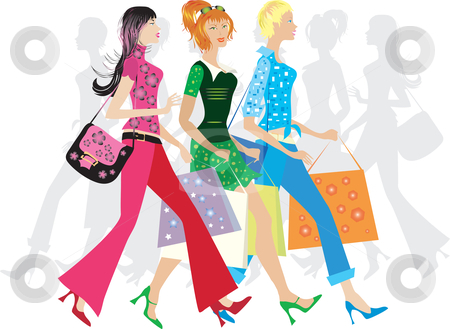 Girls Shopping Stock Vector Clipart Three Girls Shopping By Vanda