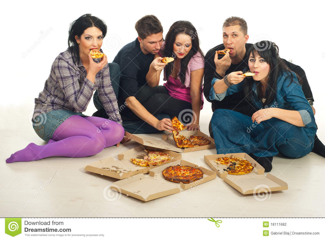 Group Of Five Friends Eating Delivery Pizza And Sitting Together On