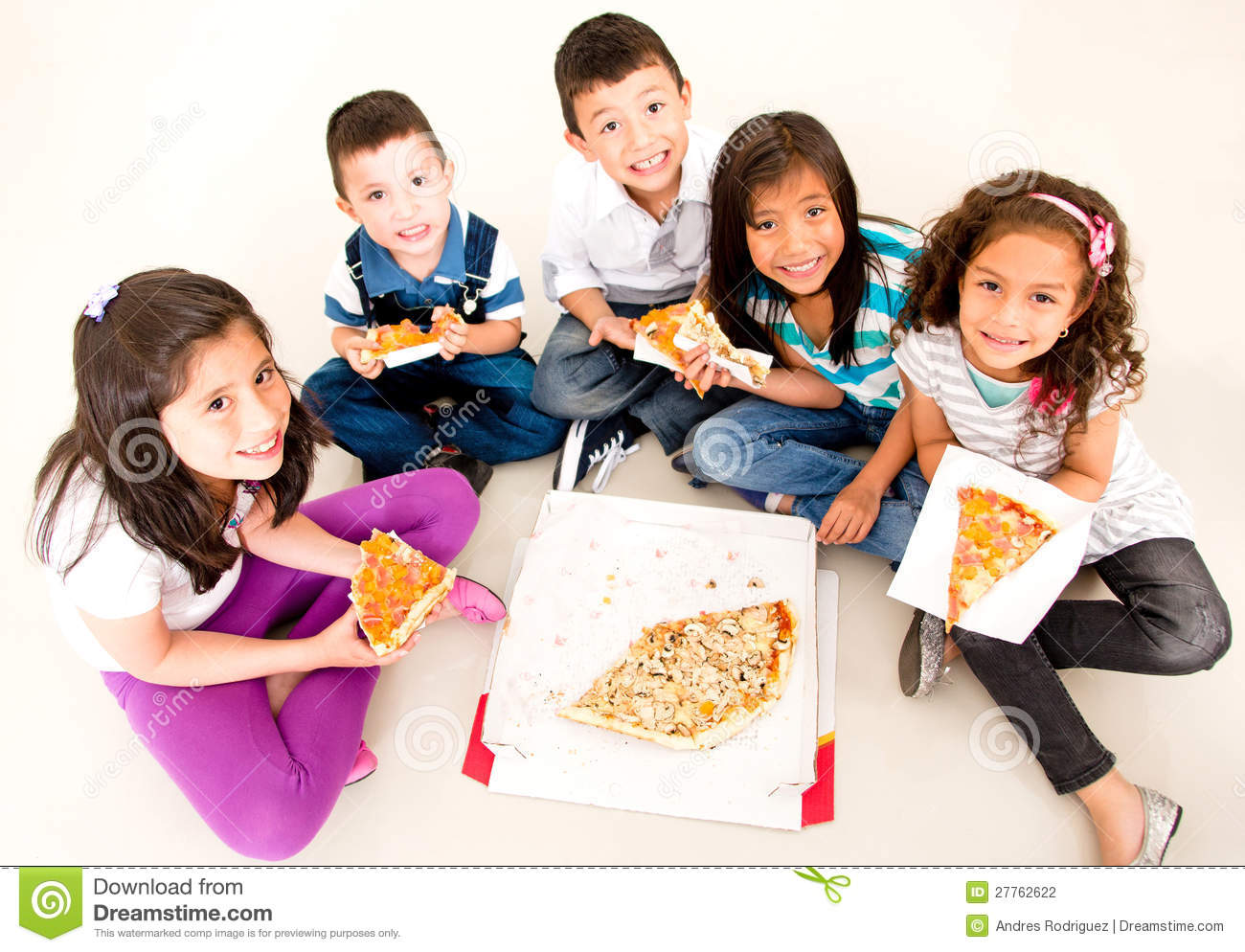 Group Of Kids Eating Pizza Stock Photography   Image  27762622