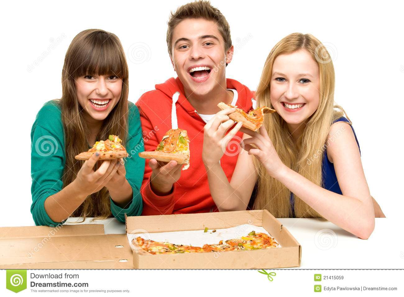 Group Of Teenagers Eating Pizza Royalty Free Stock Images   Image