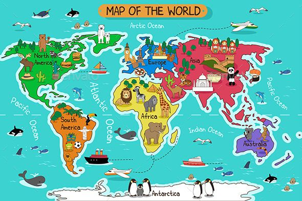 Map Of The World  Vector Eps Cs Africa Animals Antarctica Arctic