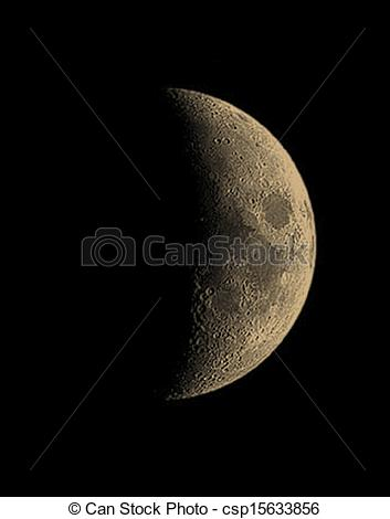 Of Moon   First Quarter Of Moon Phase Csp15633856   Search Clipart