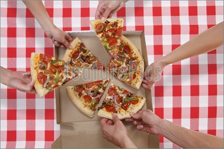 People Eating Pizza Picture