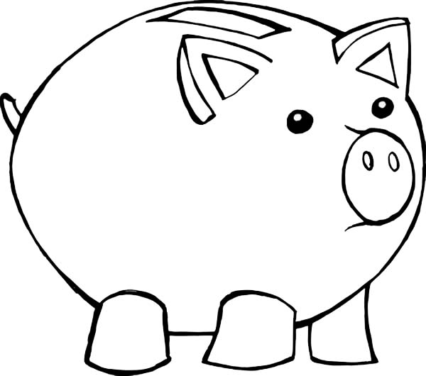 Piggy Bank Outline Clipart - Clipart Kid