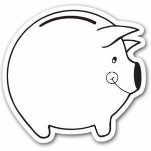 Piggy bank outline clipart clipart suggest for Piggy bank coloring page