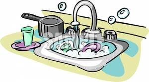 Put dishes in sink clipart