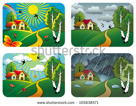 Set Of Different Weather Landscapes  Sunny Cloudy Overcast And Rainy