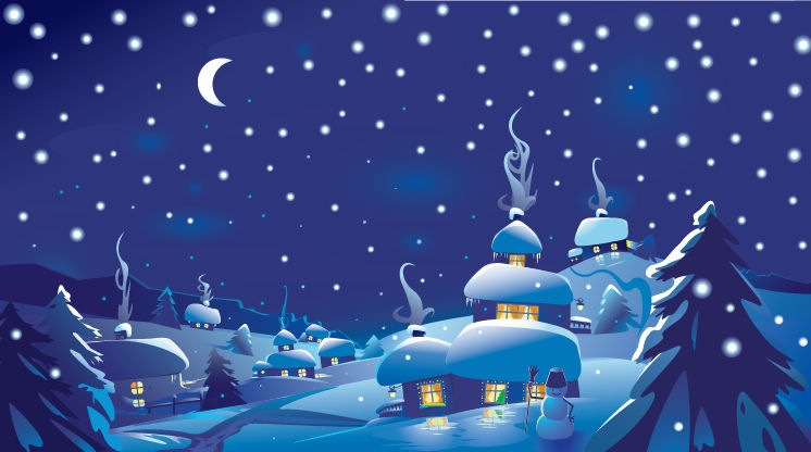 Winter Christmas Scene Vector Illustration   Free Vector Graphics